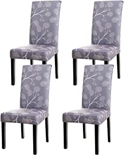 WURUIBO Super Fit Spandex Fabric Stretch Elastic Dining Chair Cover Washable Chair Protective Slipcovers for Dining Room, Hotel, Party(Grey Leaves,A)