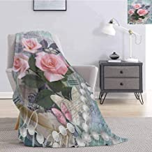 Luoiaax Pearls Comfortable Large Blanket Classic Rose and Pearls Romantic Dramatic Love Symbols Together Grace Bouquet Artwork Microfiber Blanket Bed Sofa or Travel W55 x L55 Inch Pink Grey