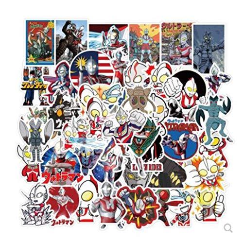 ZJJHX Pegatinas Bonitas de Dibujos Animados Ultraman para portátil, Taza de Agua, Cochecito, Scooter para bebé, Pegatina para Coche con Equilibrio, 50 Hojas