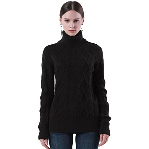 43aa29fb763204 PrettyGuide Women s Turtleneck Sweater Long Sleeve Cable Knit Sweater  Pullover Tops