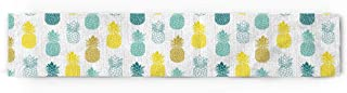 Prime Leader Yellow Teal White and Blue Pineapple Cotton Linen Table Runner Party Supplies Home Decorations for Kitchen Dining Room Wedding Birthday Baby Shower & Everyday Use 13 x 70 inch