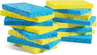 Mastertop 16PCS/Pack Cellulose Cleaning Scrub Sponge for Kitchen Multifunctional Dishwashing Sponges Yellow and Blue