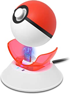 Charging Dock for Poké Ball Plus, Charge Stand for Nintendo Switch Pokémon Game Controller, Pokeball Plus Charger (White + Red)