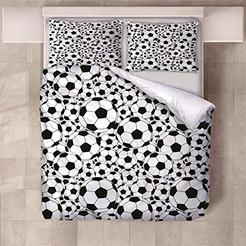 NHBTGH Duvet Cover Set 55.12x86.61 inch Football 1 Quilt Cover +2 Pillow Cases (2x19.69x29.53 inch) Easy Care Polyester Bedding Bedroom Set with Zipper Closure - White