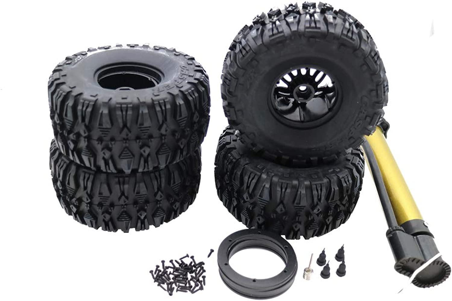 RCAWD AirFilled Inflated 2.2 Bead Lock Wheel Tire Tread for Rc 1 10 Rock Crawler Monster Truck(Black)