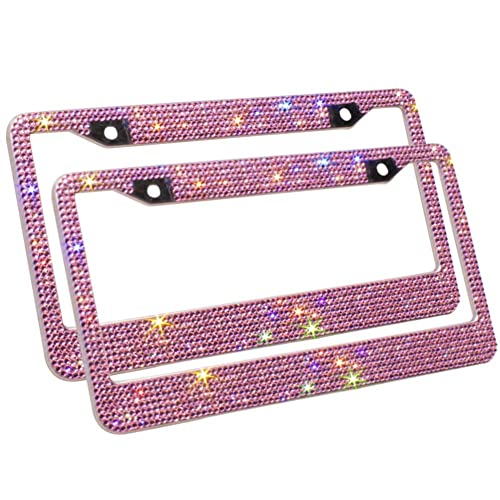 2 HOT Pink Diamond Crystal Rhinestone License Plate Frame NEW Front and Back