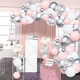 Kit Arche Ballon Blanc Rose Argent SKYIOL Guirlande de Ballon 100 Helium Confettis Ballons Latex avec 5m Chaine Point de C...
