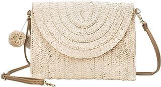 Damen Gewebte One-Shoulder-Handtasche Umhängetasche Clutch Handtasche Sommerstrand Handgewebte Samtbrieftasche (Creamy-White)