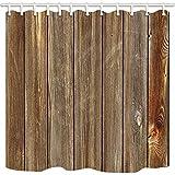 goeoo rústico de madera cortina de baño vertical granero de pared de madera casas textura resistente al moho cortinas de ducha de tela para cuarto de baño cortina de ducha ganchos incluidos 69x...