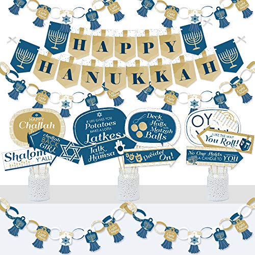 Big Dot of Happiness Happy Hanukkah - Banner and Photo Booth Decorations - Chanukah Holiday Party Supplies Kit - Doterrific Bundle