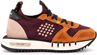Be Positive Woman's Bepositive X Veeshoes Cyber Sneaker Made in Burgundy and Orange Suede
