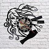 BFMBCHDJ Salón de Belleza Disco de Vinilo Reloj de Pared Estilista Peluquería Peluquería Reloj de Pared Hecho a Mano Peluquería Regalos para Mujer Sin LED 12 Pulgadas