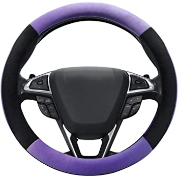 Xmomx Steering Wheel Cover Microfiber Leather Universal 15 Inches Steering Wheel Cover Warm in Winter Cool in Summer