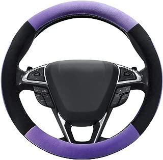 SEG Direct Purple Plush Winter Auto Car Steering Wheel Cover Universal 15 inch