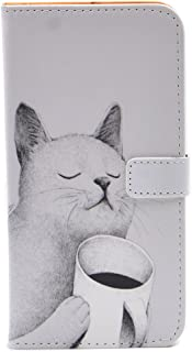 iPhone 7 Plus Case - Unique Coffee Cat Pattern Slim Wallet Card Flip Stand PU Leather Pouch Case Cover for Apple iPhone 7 Plus,iPhone 8 Plus (2017) Cool as Great Gift