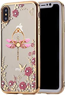 Glitter Case for iPhone 8,Rotating Ring Stand Secret Graden Bling Diamonds Shiny Rhinestone Plating Bumper Soft TPU Case for Apple iPhone 7(Dragonfly Gold Pink)