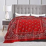 KAGOU Bandana - Red Ultra-Soft Micro Fleece Blanket 60' X50