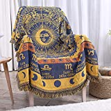Erke 50' X 70' Double Sided Cotton Woven Couch Throw Blanket Featuring Decorative Boho Tassels - Zodiac Constellations, Yellow/Blue