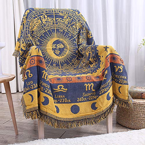 "Erke 50"" X 70"" Double Sided Cotton Woven Couch Throw Blanket Featuring Decorative Boho Tassels - Zodiac Constellations, Yellow/Blue"