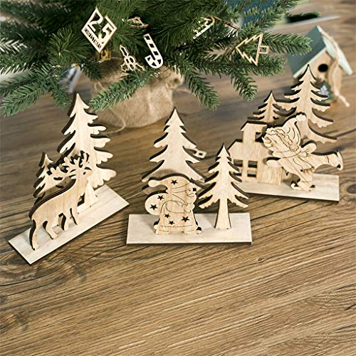 Garispace 3D Wooden Christmas Tree Puzzles Set 3pcs Wood Color Christmas Jigsaw Puzzles Ornament DIY Assembly Model Toy Desk Decoration New Year Gift