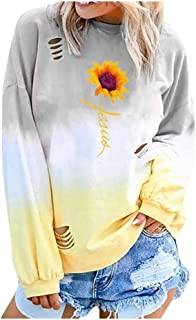 Holzkary Women's Gradient Color Tops Letter/Pattern Print Casual Long Sleeve O-Neck Pullover Sweatshirt