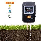 Misuratore di Umidità TACKLIFE MST01 Tester Multifunzioni 3 in 1 Misura L'umidità, L'intensità della Luce Solare, e PH di Terreno per Giardino, Prato, Fattoria, Piante