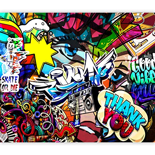 artgeist Wall Mural Graffiti 173'x124' XXL Peel and Stick Self-Adhesive Wallpaper Removable Large Sticker Foil Wall Decor Print Picture Image Design Streetart Skate Urban Mural i-C-0178-a-a