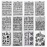 EVNEED 12 pièces Chiffre et Letter Pochoir Alphabet Peinture Réutilisable Souple Majuscule Minuscule Caractère de 1 à 3 cm pour Scrapbooking Carte d'anniversaire Décoration Murale et d'artisanat