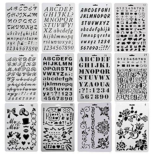 YZNlife Schablonen Set,12 Pcs Kunststoff Buchstaben,Nummer Alphabet,Kugel Journal Schablone Vorlage, DIY Geschenkkarten Zubehör für Bullet Journal,Scrapbooking,Fotoalbum