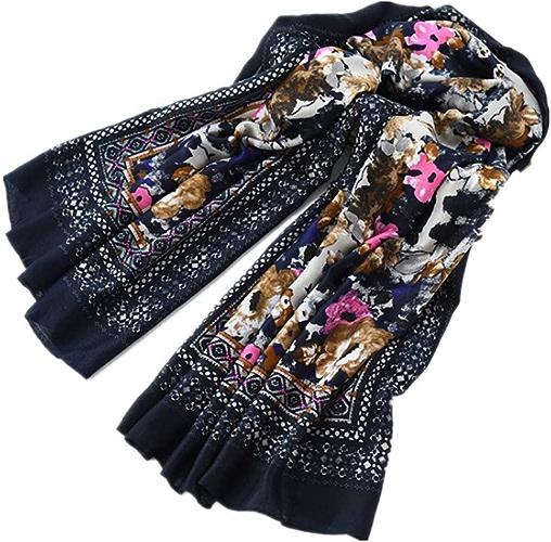 NANIH Home Foulard imprimé pour Femme Grande Taille Longue chale Foulard en Coton et Lin écharpes National Wind
