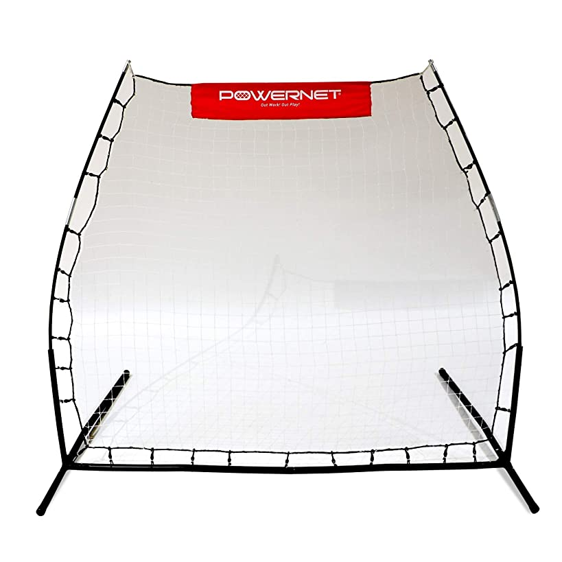 PowerNet Rebounder Training Net for Soccer, Lacrosse, Baseball, Softball | Angled Multi-Sport Rebound Pitchback Net | Portable Dual Practice Surface Use Both Sides for Practicing Volley and Rollback