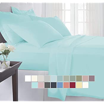 BEVI - Home Super Solid 204 Tc Microfiber Single Size Bedsheet with 1 Pillow Covers- (Aqua Blue)
