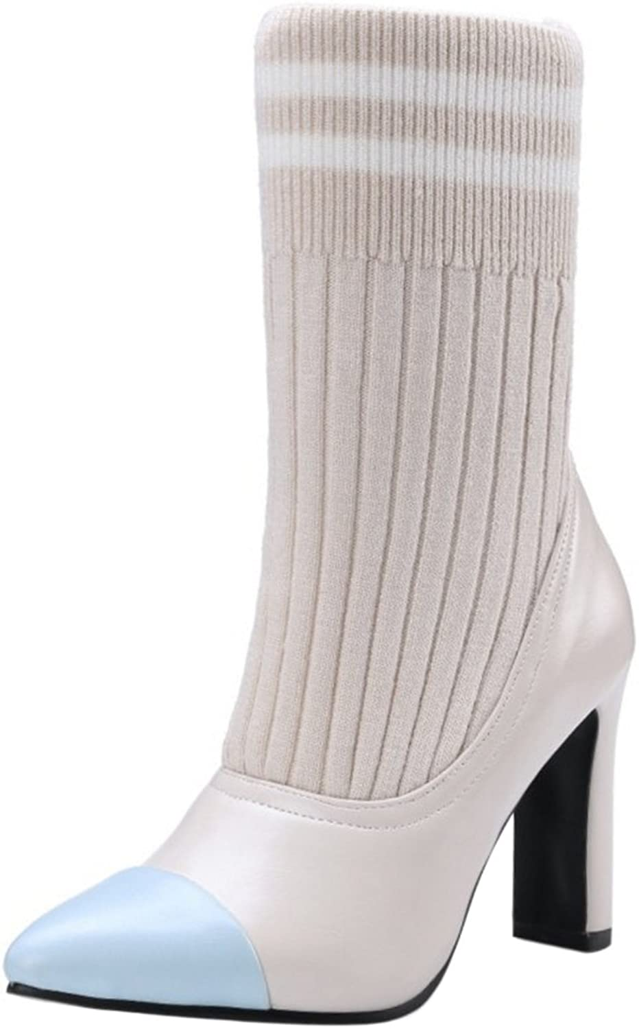 FANIMILA Women Fashion Pull On Ankle High Boots with Knit
