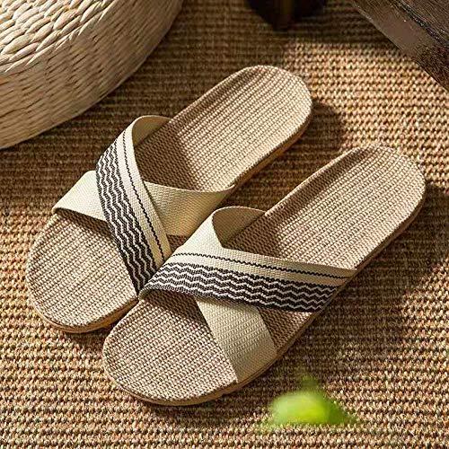 Anlemi Baño Sandalia Suela De Suave,Zapatillas de Piso de Madera Cruzada de Lino,Zapatillas de casa silenciosas-D_40-41,Sandalias De Ducha de Casa