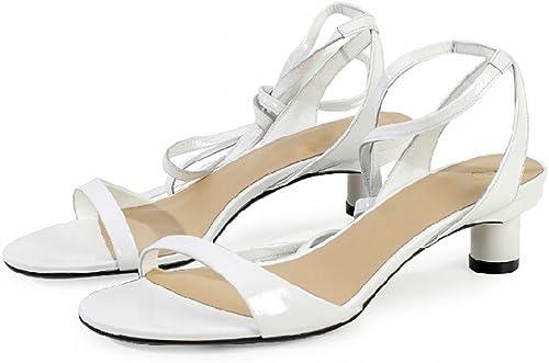 DIDIDD Bretelles de Ballet Simples D'été avec des Sandales à Doigts Visibles,Blanc,35
