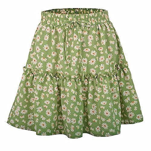 N\P Minifalda casual con volantes y cintura alta para mujer