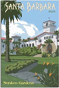 N\C Vintage Travel Poster Santa Barbara Sunken Gardens Canvas Art Hd Modern Home Posters Picture Wall Art Painting for Living Room Bedroom Office Decoration Birthday Gift