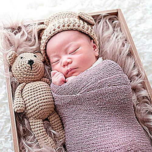 [TradeWind]赤ちゃん新生児ニューボーンフォト寝相アートコスチューム撮影ニット帽ぬいぐるみテディベア着ぐるみ出産祝い初孫祝い2点セット(0-3ブラウン)