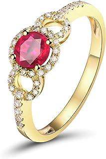 ButiRest - Anello in oro giallo 750, 18 carati con 4 denti taglio rotondo 0,5 ct rosa rosso rubino VS e diamante 0,17 ct