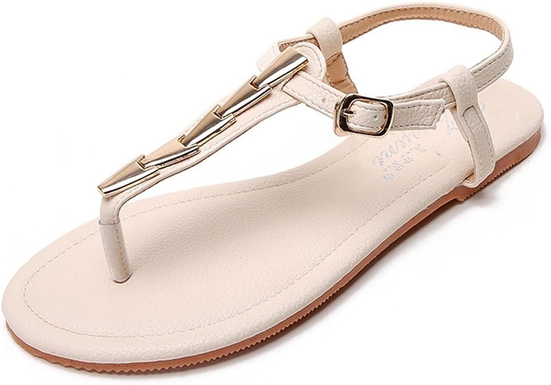 Women's Flat Sandals Metal Decorative Cool Girl Herringbone Simple Roman shoes Ladies Flat Sandals Daily Apartment Flat shoes Beach Sandals (color   Beige, Size   6.5 US)