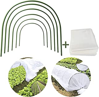 Pannow 6Pack Greenhouse Hoops Garden Hoops 4ft Long Plant Hoops Rust-Free Grow Tunnel Support Hoops with 3.3ft12ft Garden Stakes Fabric for Frost Protection