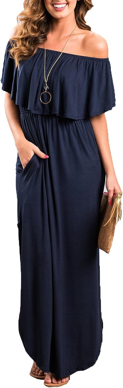 Choies Women's Off Shoulder Ruffle Maxi Dress Side Split Pockets Long Dress