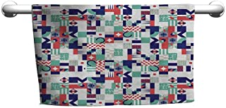 DIMICA Custom Towel Mid Century Rich Contemporary Collection of Funky and Pastel Shapes Bathroom Towel 35 x 12 inch Mint Green Navy Blue Dark Coral