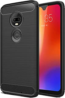 SKTGSLAMY Moto G7 Case, [Slim Thin] Carbon Fiber Scratch Resistant Shock Absorption Soft TPU and Anti-Scratch and Non-Slip Case Cover for Motorola Moto G7/G7 Plus Phone (Black)