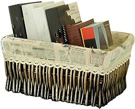 YAYADU Storage Basket Rattan Finishing Box High Capacity Store Masks Book Paper Toy Magazines For Liyingroom Bedroom Kitch...