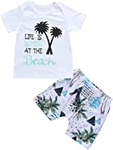 2Piece Infant Toddler Baby Boys Summer Outfit Set,Short Sleeve Letter Print T-Shirt Beach Shorts Pants Kid Clothes Suit
