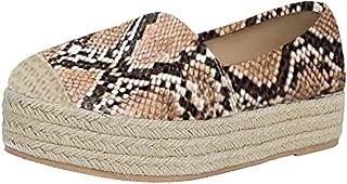 JJHAEVDY Women's Leopard Flatform Espadrilles Loafers Slip On Fashion Walking Flats Comfort Round Toe Low Top Sneaker