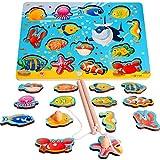 Rolimate Jeu de Pêche à la Ligne Magnétique Éducatif Puzzle de Pêche en Bois Cadeau d'Anniversaire Noël pour Bébé Enfant...