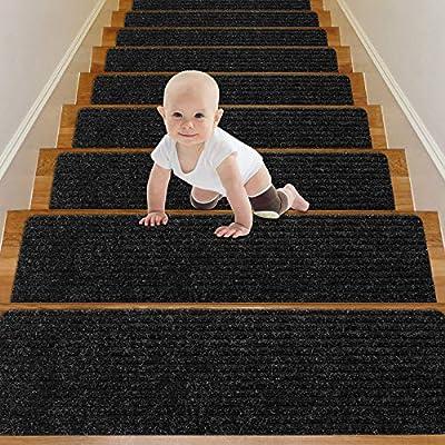 "Wotoban Stair Treads Carpet Non Slip Indoor Set of 14 Carpet Stair Treads 8"" X 30"" Stair Rugs Mats Runners Safety Slip Resistant for Kids, Elders and Dogs, Black"