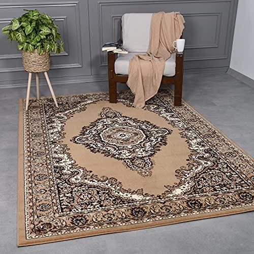 VIMODA - Alfombra clásica oriental tejida para salón, marrón y beige